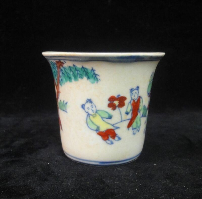 """Old Chinese """"DouCai"""" Hand Painting Figures Porcelain Cup """"ChengHua"""" Mark"""