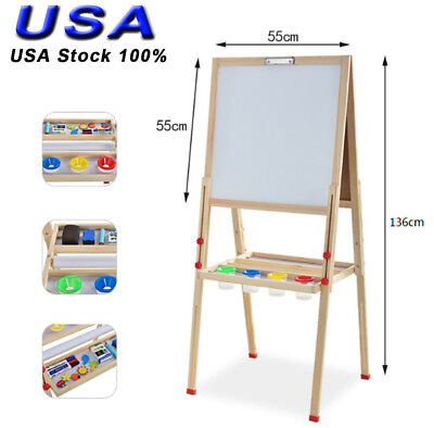 Folding Chalkboard Children Kid 2 In 1 Double Side Wooden Easel Chalk Board Set (Childrens Easel)