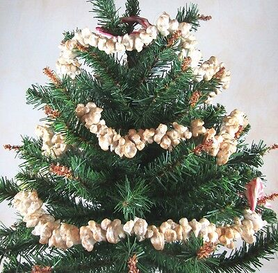 REALISTIC POPCORN CHRISTMAS TREE GARLAND 9 FT LONG FAUX ARTIFICIAL PRIMITIVE
