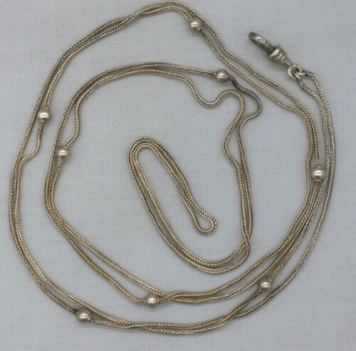 """Antique Sterling Silver Long Watch Chain Guard Beads Foxtail 48"""" 11.14 Grams"""