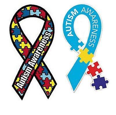 2 Autism Awareness Car Magnet-Ribbon Puzzle Piece & Multi Color Puzzle Piece