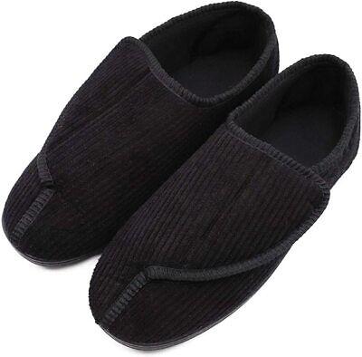 MediFeet Mens Memory Foam Diabetic Slippers Extra Wide Width, Black, Size 10.0