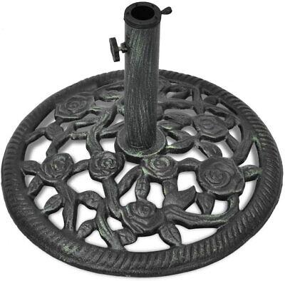 vidaXL Outdoor Garden Umbrella Base Cast Iron 12 kg, Black Green 48 cm