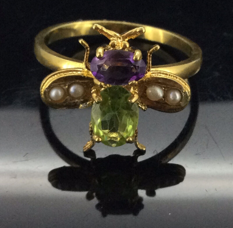 Antique Suffragette Ring Peridot Seed Pearls Amethyst Gold Gilt Bee Edwardian