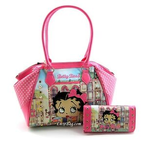 Betty Boop Large Purse and Wallet Set, Pink and Off-White, 2014 Spring