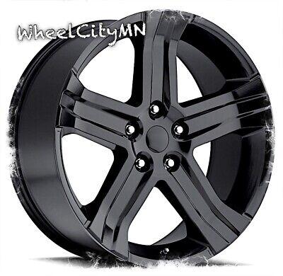 24 inch gloss black 2016 Dodge RAM 1500 RT OE replica wheels 2011 2018 5x5.5 +25