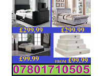 BED NEW DOUBLE LEATHER OR CRUSHED VELVET BED + MATTRESS MATTRESSES 6091