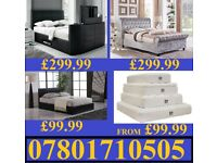 NEW DOUBLE LEATHER OR CRUSHED VELVET BED + MATTRESS MATTRESSES