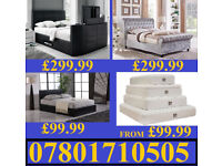 BED NEW DOUBLE LEATHER OR CRUSHED VELVET BED + MATTRESS MATTRESSES 078