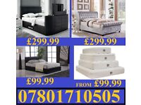 BED NEW DOUBLE LEATHER OR CRUSHED VELVET BED + MATTRESS MATTRESSES