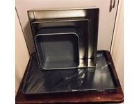"""8, 10 & 12"""" Cake tins and 17"""" baking tray for sale"""
