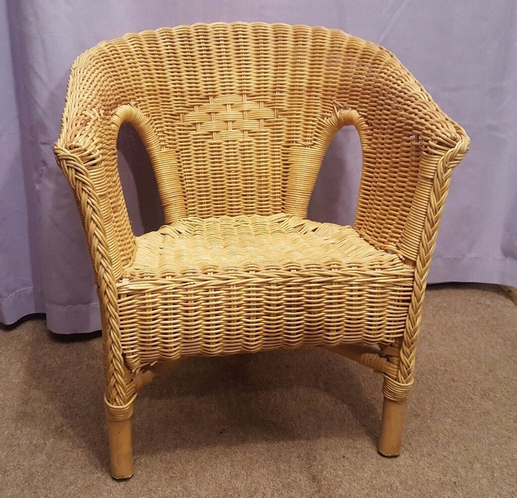 Small Wicker Chair For Child Or Toy Teddy Doll Display