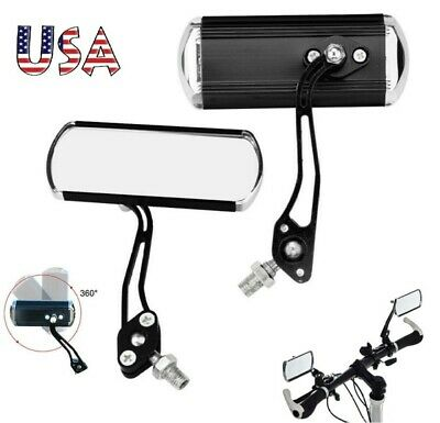 2 Pack Bicycle Bike Cycling Handlebar Rear View Rearview Mirror Rectangle Back