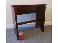 Vintage side table sewing box old school desk shape bench solid wood