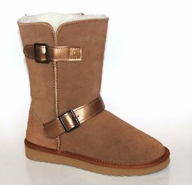 CHESTNUT SUEDE MERINO WOOL LINED DOUBLE BUCKLE BOOTS BY SNOW PAW - SIZE 5 - BRAND NEW IN BOX