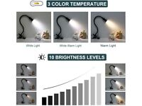 Clip-On LED Desk Lamp with 10 Brightness Dimmer Functions + 3 Colour Modes