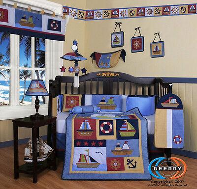 Baby Boy Sailor 14PCS  Nursery CRIB BEDDING SET - Including Lamp Shade