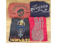 4 brand new authentic men's True Religion designer T-shirts. All are size large / medium