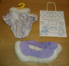 Build A Bear Workshop Purple And White Body Suit And Skirt Set As New Condition
