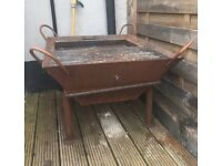Square Cast Iron Fire Pit & Grill (RRP £230) - Wood Burning