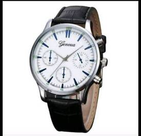 Brand new mens quartz watch with leather straps