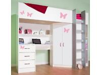 Children's bed with built in wardrobe, desk, drawers and shelves
