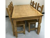 Solid Pine Farm House Dinning Table And 6 x Solid Pine Chairs.