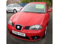 SEAT IBIZA 1390cc SPORT 3 DOOR HATCH 2006-06, RED, LOOK ONLY 65K FROM NEW WITH 2 FORMER KEEPERS