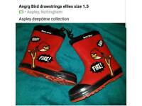 Angry bird drawstring wellies size 1.5
