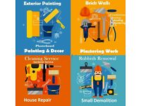Home Repairs, Plastering, Flooring,Painting&Decoration,Roofing,Rubbish Remowal,Gardening service