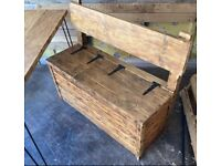 Reclaimed dining table/ storage stool