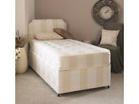 "FREE & DELIVERY SINGLE DIVAN BED WITH 9 "" SEMI ORTHOPEDIC MATTRESS"