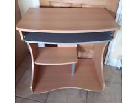 Computer Desk / Workstation In Cherry Wood Finish - Collect Only