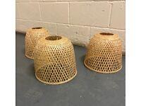 3 x woven bamboo pendant lampshades