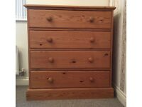 3 Piece Set - Solid Wood Wardrobe, Drawers & Shelving Unit
