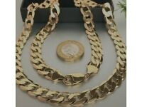 """HEAVY 9ct SOLID GOLD CURB CHAIN 24 5/8"""" MEN'S 63.7g"""