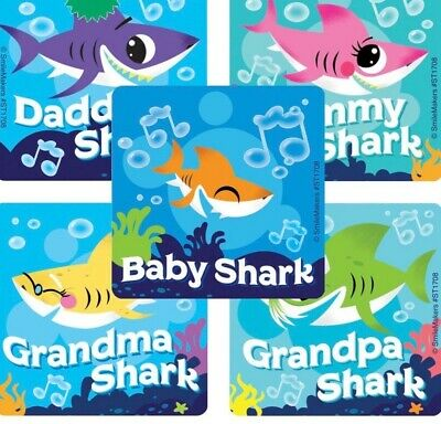 25  baby Shark  Stickers Party Favors Teacher Supply Valenti
