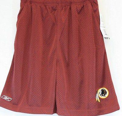 Boys Kids Youth Reebok Washington Redskins NFL Logo Maroon Mesh Shorts -