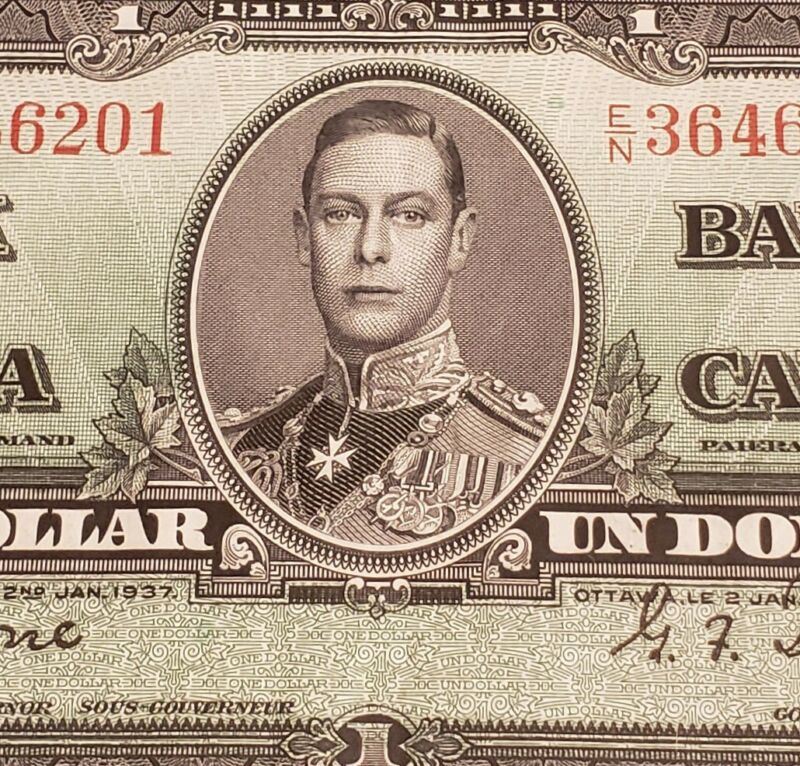 1937 Canada $1. Coyne & Towers Signed.