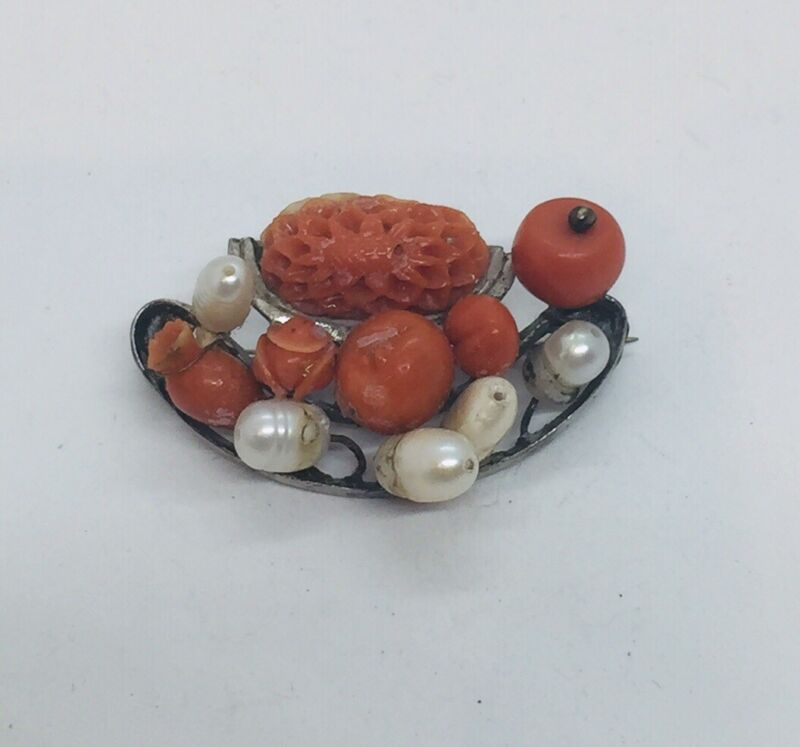 Antique Victorian Sterling Silver Red Coral & Pearl Pin