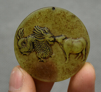4CM China Hongshan Culture Old Jade Carving Animal Dragon Cattle Amulet Pendant