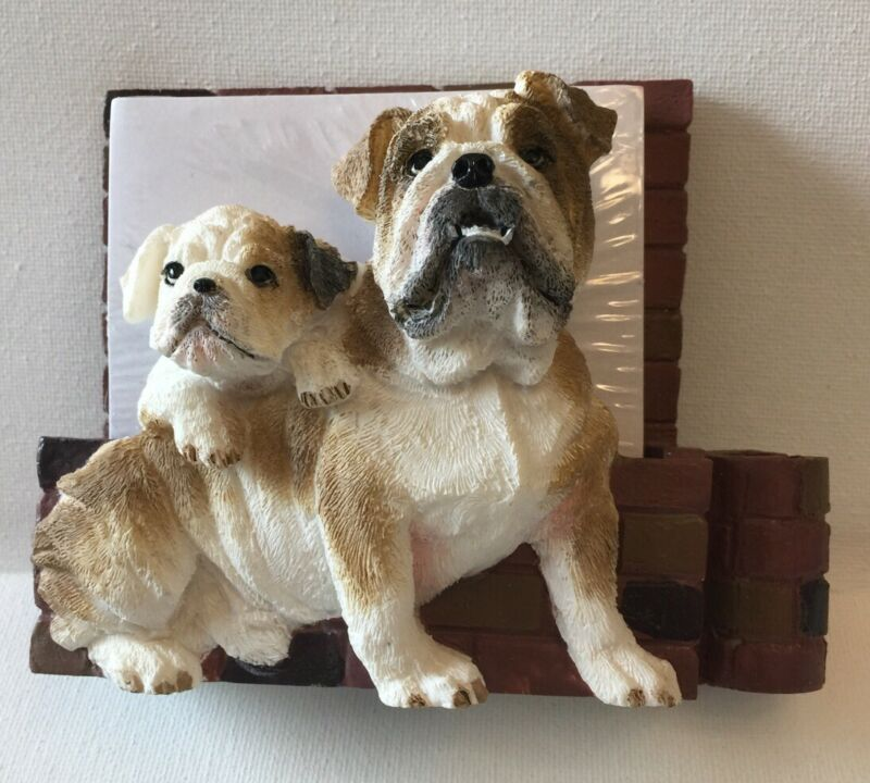 English Bulldog Magnetic Memo Holder Great On Refrigerater