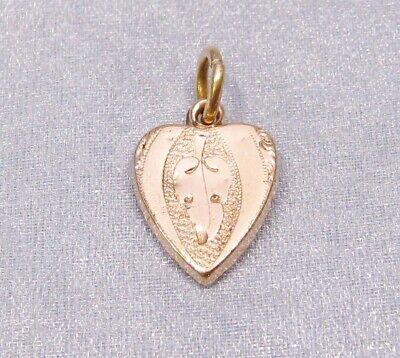 Antique Victorian Gold Filled Etched Leaf Heart Shape Charm - Gold Leaf Heart