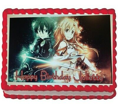 Sword Art Online Anime Edible Cake Image Frosting Topper Decoration Sheet - Online Party