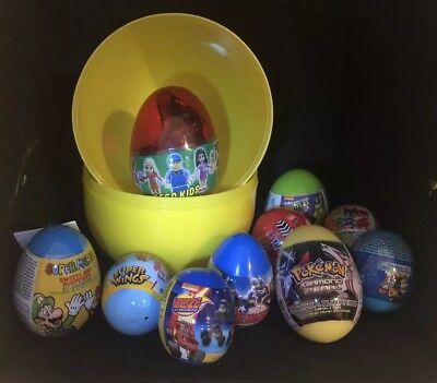 "Giant jumbo 8"" PLASTIC SURPRISE EGG W/10 Eggs, Pokemon, Mario, Paw Patrol, Cars! (Jumbo Plastic Egg)"