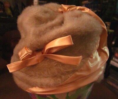 FUZZY HAT vtg fuzzy bucket OG classy 1920s fashion Vaudeville jazz satin bow