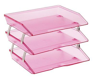 Acrimet Facility 3 Tiers Triple Letter Tray Clear Pink Color