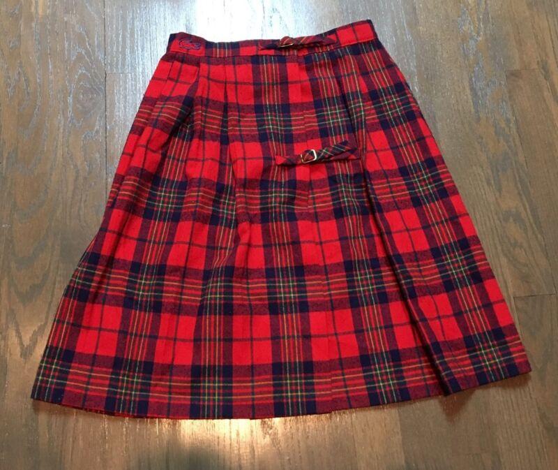 """Vtg IZOD Lacoste Red TARTAN PLAID+CHECK Gold Buckle KILT School Girl Skirt 24"""""""