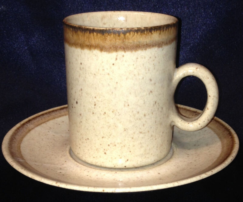 ZAALBERG HOLLAND ZPO2 FLAT CUP & SAUCER 10 OZ BROWN & TAN SPECKLED DUTCH POTTERY