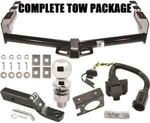 COMPLETE TRAILER HITCH PACKAGE W/ 4-WAY & 7-WAY WIRING & BRACKET ~ TOW RECEIVER